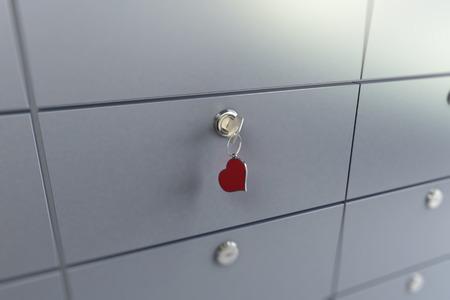 key heart safe  3D illustration, 3D rendering Stock Photo