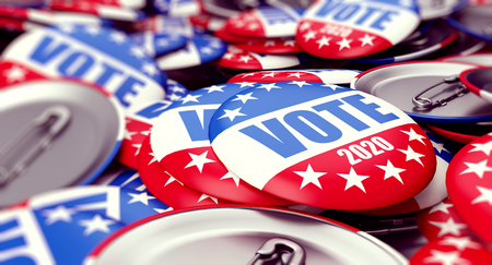 vote election badge button for 2020 background, vote USA 2020, 3D illustration, 3D rendering Stok Fotoğraf - 110589860