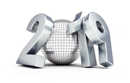 disco ball new year 2019 on a white background 3D illustration, 3D rendering Standard-Bild - 110925014