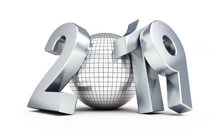 disco ball new year 2019 on a white background 3D illustration, 3D rendering Stock Photo