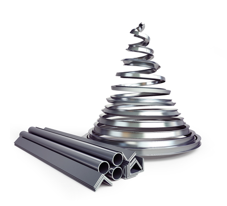 Metal fir tree on a white background 3D illustration, 3D rendering