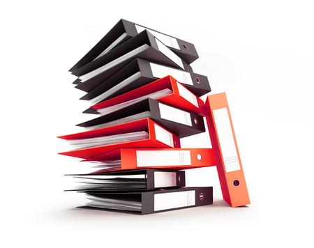 office folder binders  on a white background 3D illustration, 3D rendering