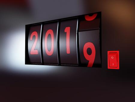 counter turn of the year 2019 3D illustration, 3D rendering Reklamní fotografie
