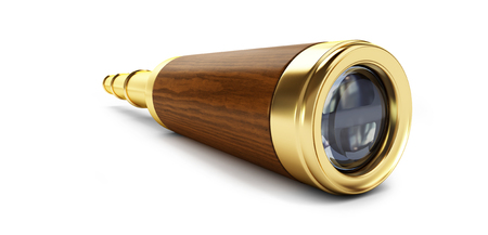 old gold telescope on a white background 3D illustration, 3D rendering Stock fotó