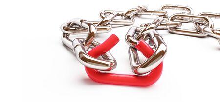 broken link chrome chain  on a white background 3D illustration, 3D rendering