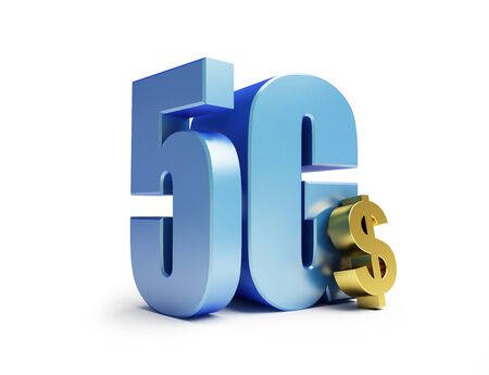 5g dollar sign on a white background 3D illustration, 3D rendering