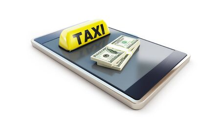 Taxi smartphone dollar on a white background 3D illustration, 3D rendering Stock fotó