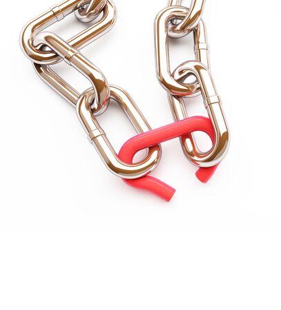 broken link chrome chain on a white background 3D illustration, 3D rendering Stock Photo