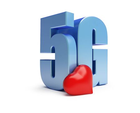5g red heart sign on a white background 3D illustration, 3D rendering