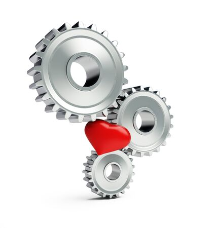 metal gears red heart on a white background 3D illustration, 3D rendering