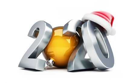New Year 2020 santa hat on a white background 3D illustration, 3D rendering Фото со стока - 129918449