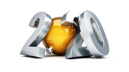 Año nuevo 2020 en una ilustración 3d de fondo blanco, render 3d