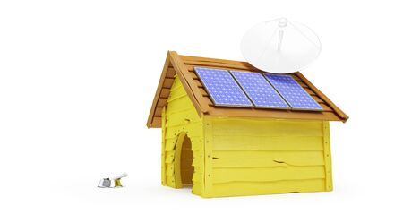 Dog house with solar panels and Parabolic antenna on a white background 3D illustration