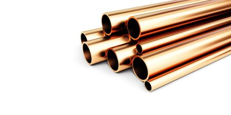 Copper metal pipes on white background. 3d Illustrations
