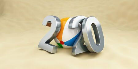 new year 2020 on the beach, beach ball 3D illustration Фото со стока - 129918468