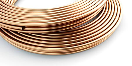 Copper pipes on white background. 3d Illustrations Zdjęcie Seryjne