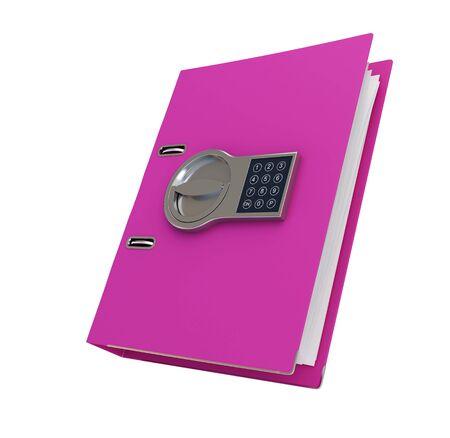pink folder safe, office folder under electronic lock on a white background 3D illustration, 3D rendering Stock fotó