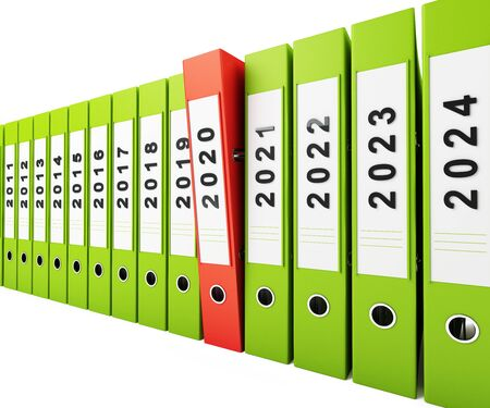 Office folders new year 2020 on a white background 3D illustration, 3D rendering
