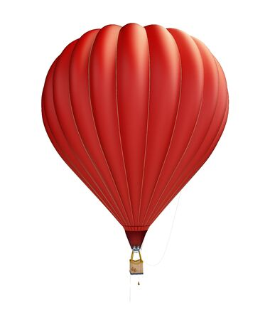 hot air balloon red on a white background 3D illustration, 3D rendering
