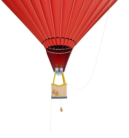 hot air balloon on a white background 3D illustration, 3D rendering