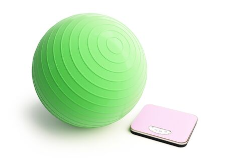 fitness ball bathroom scale on a white background 3D illustration, 3D rendering