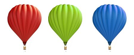 hot air balloon red, blue, green on a white background 3D illustration, 3D rendering Zdjęcie Seryjne