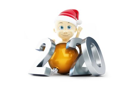 Baby new year 2020 on a white background 3D illustration, 3D rendering