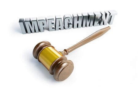 Impeachment procedure law, gavel on a white background 3D illustration, 3D rendering Zdjęcie Seryjne