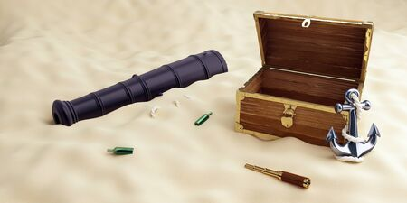 On the beach an old  open chest, a spyglass, an anchor 3D illustration, 3D rendering Stock fotó