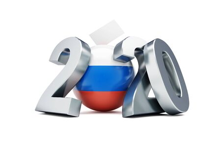 Single day of voting in Russia  2020 on a white background 3D illustration, 3D rendering Zdjęcie Seryjne