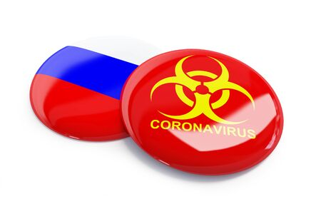 coronavirus in Russia on a white background 3D illustration, 3D rendering