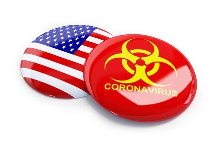 coronavirus in usa on a white background
