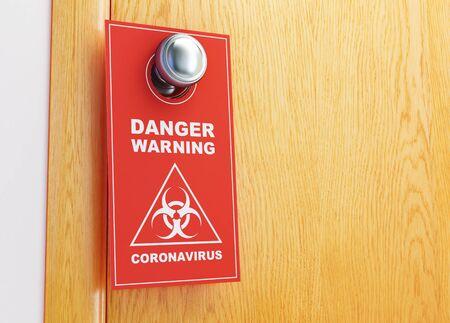 Coronavirus warning sign red on the door