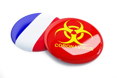 coronavirus in France on a white background