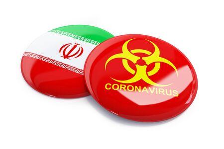 Coronavirus in Iran on a white background 3D illustration, 3D rendering
