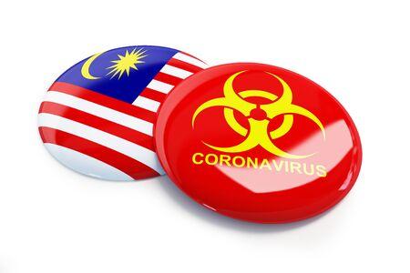 Coronavirus in Malaysia on a white background 3D illustration, 3D rendering Zdjęcie Seryjne