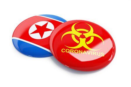 Coronavirus in North_Korea  on a white background 3D illustration, 3D rendering