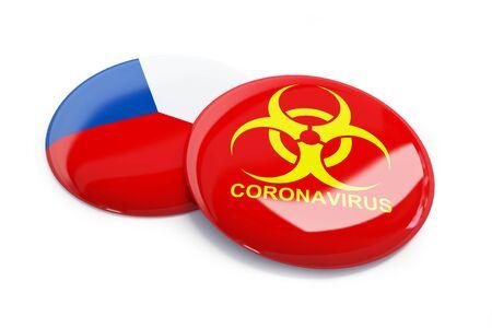 Coronavirus in Czech Republic  on a white background 3D illustration, 3D rendering
