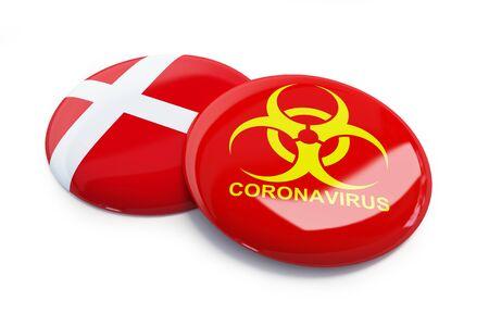 Coronavirus in Denmark on a white background 3D illustration, 3D rendering Zdjęcie Seryjne