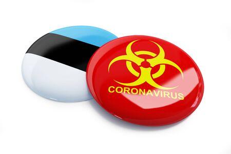 Coronavirus in Estonia on a white background 3D illustration, 3D rendering