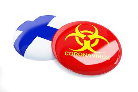 Coronavirus in Finland on a white background 3D illustration, 3D rendering Zdjęcie Seryjne
