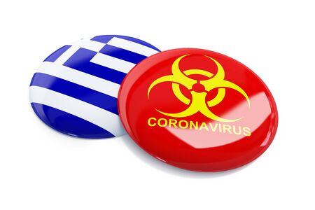 Coronavirus in Greece on a white background 3D illustration, 3D rendering