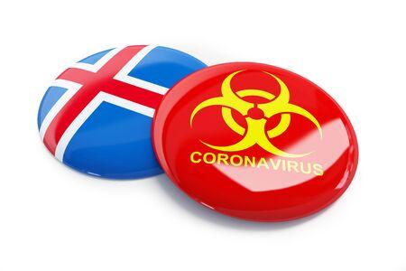 Coronavirus in Iceland on a white background 3D illustration, 3D rendering