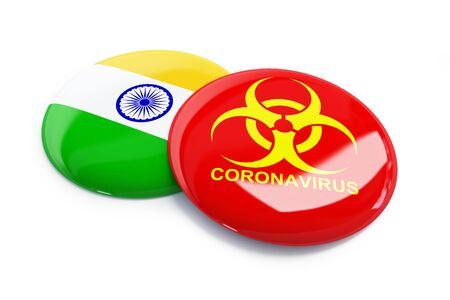 Coronavirus in India on a white background 3D illustration, 3D rendering