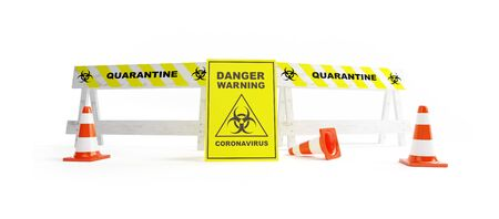Sign of a closed road. quarantine coronavirus on a white background 3D illustration, 3D rendering Zdjęcie Seryjne