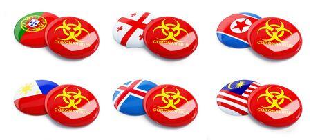 Coronavirus Portugal, Iceland, Philippines, Malaysia, Georgia, North Korea on a white background 3D illustration