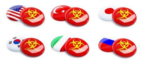 Coronavirus USA, South Korea, Turkey, Russia, Japan, Italy on a white background 3D illustration Zdjęcie Seryjne