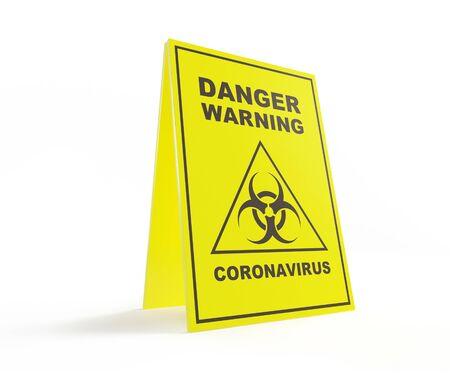 dangerous coronavirus warning sign on a white background 3D illustration, 3D rendering