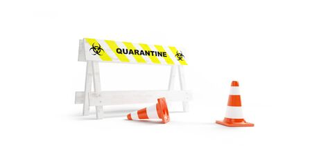COVID-19 Sign of a closed road. quarantine coronavirus on a white background 3D illustration, 3D rendering