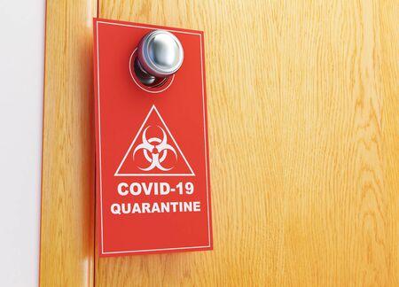 Covid-19 sign on the door 3D illustration, 3D rendering Zdjęcie Seryjne